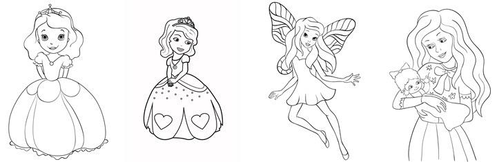 דפי צביעה חמודים של נסיכות ופיות
